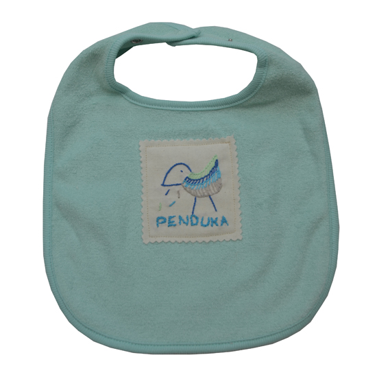 Kuche Baby Bib Mint With Embroidery Label