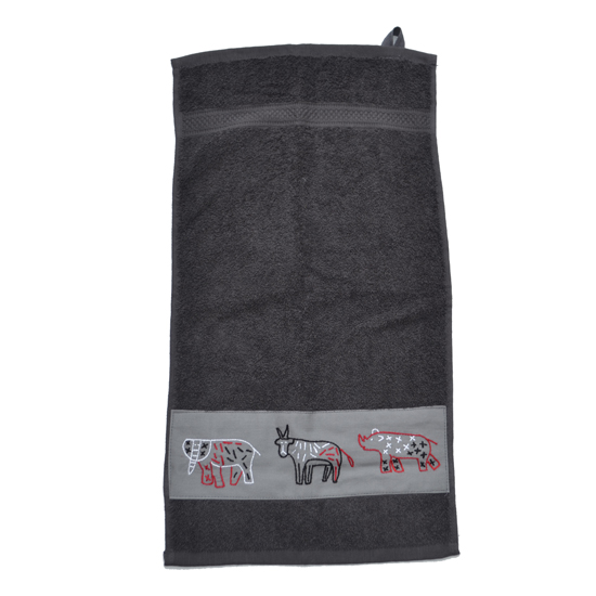 Badkamer: Guest towel (grey) with wild animal embroidered strip