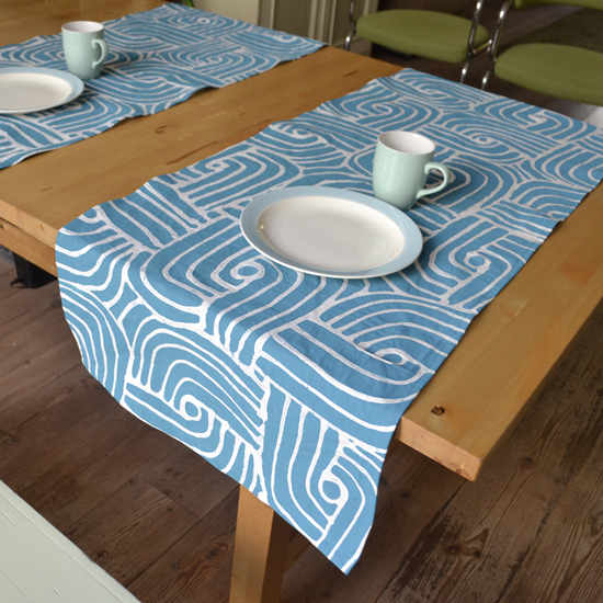 Dining Room Table Runner: Dining Room: Batik Table Runner 'Let's Get Busy' Turquois