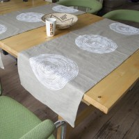 Table runner 'basket print' natural beige